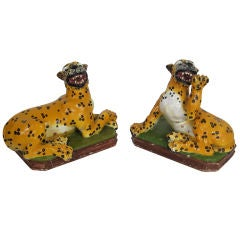 Pair of Lifesize Italian Majolica Leopard Cubs