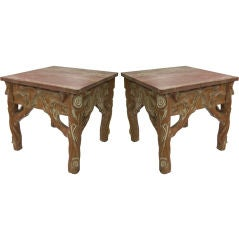 Pair of Cerused Faux Bois Side Tables with Marble Tops