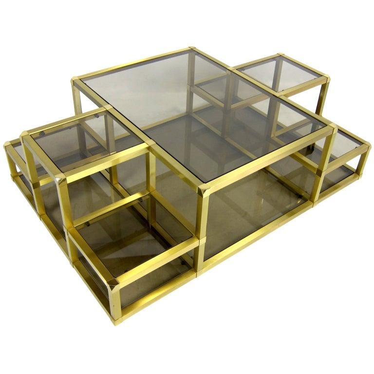 Large Multi-Level Brass Cocktail Table At 1stdibs