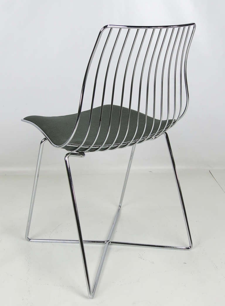 Italian Chrome Wire Desk Chair In Excellent Condition For San Leandro Ca