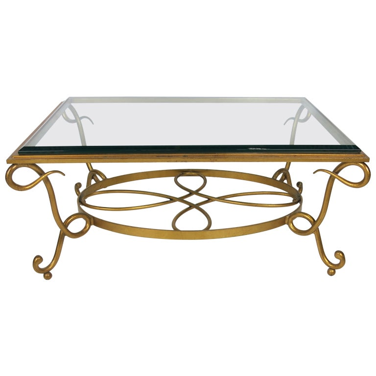 Gilt Iron Coffee Table in the style of Rene Drouet