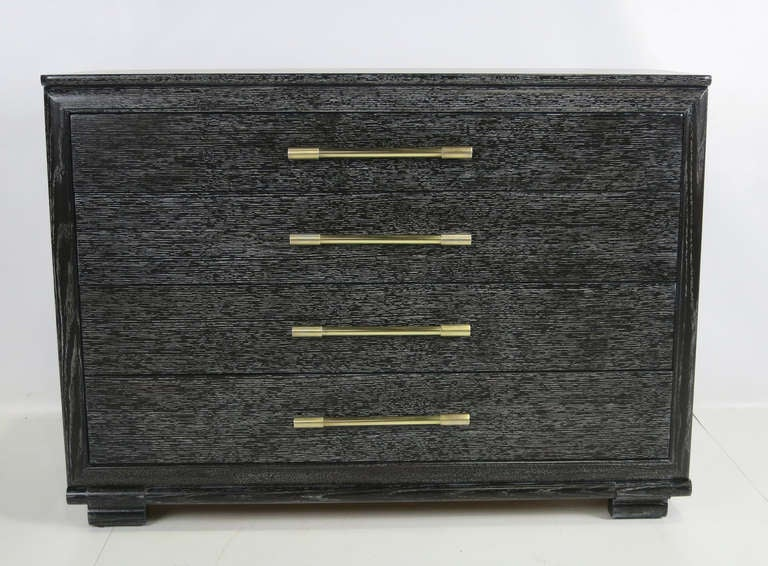 Beautifully scaled and detailed small Dresser by Raymond Loewy for Mengel.  The chest has been completely restored in cerused Ebony lacquer.
