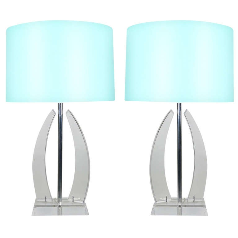 Pair of Large Sculptural Lucite Lamps