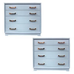 Pair of Mist Blue Lacquer Bachelor's Chests