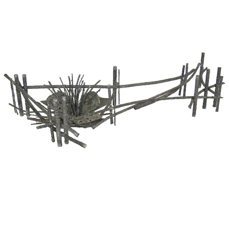 Huge Bronze Coffee Table by Silas Seandel.  This huge and dramatic sculptural work is constructed of bronze covered in brazing slag with a grand scale Water Lily at one end.  The glass top measures 96 x 38 x 3/4