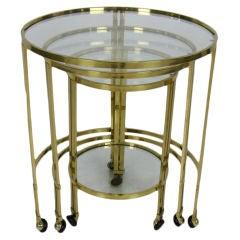 Set of Italian Round Brass Nesting Tables