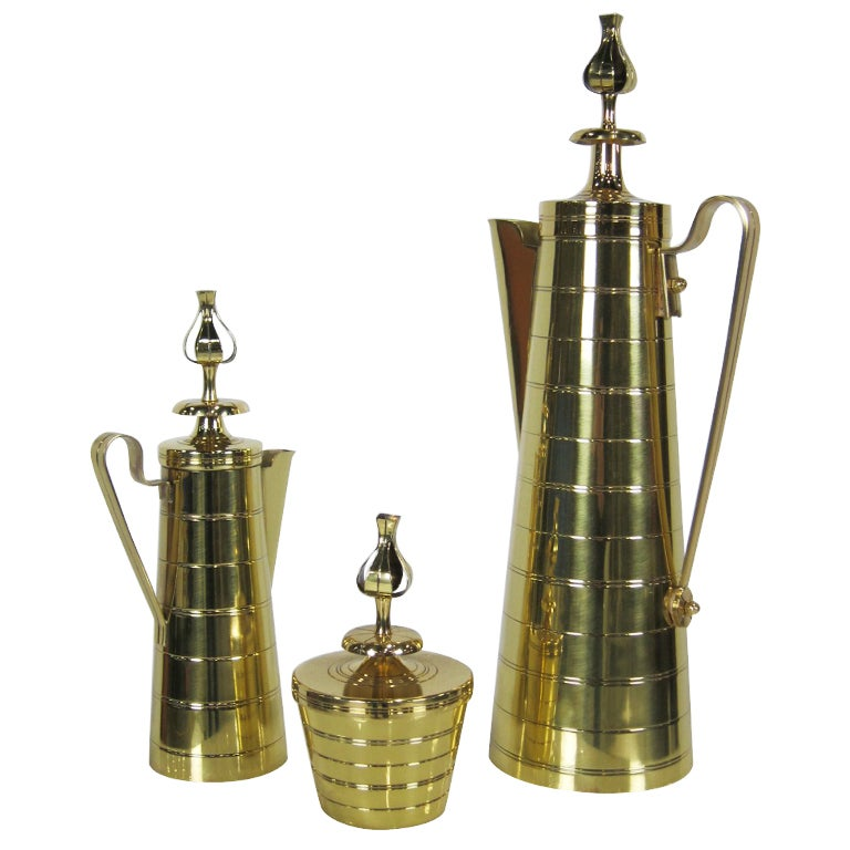 3 Piece Brass Coffee Service by Tommi Parzinger for Dorlyn