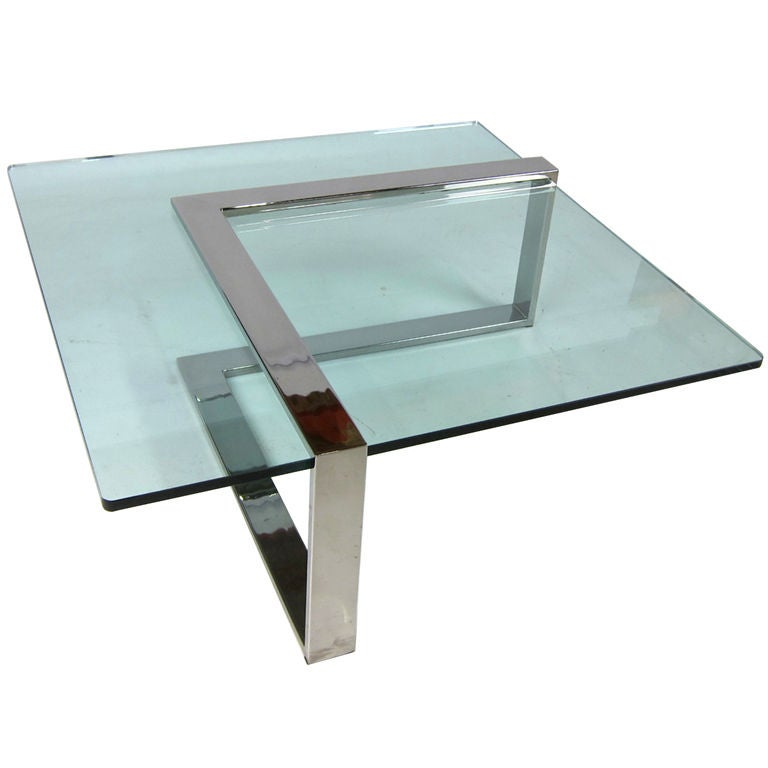 Geometric Chrome And Glass Cantilevered Coffee Table At 1stdibs