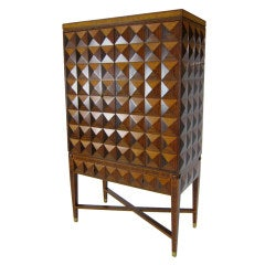 Spectacular 3 Dimensional Marquetry Bar Cabinet
