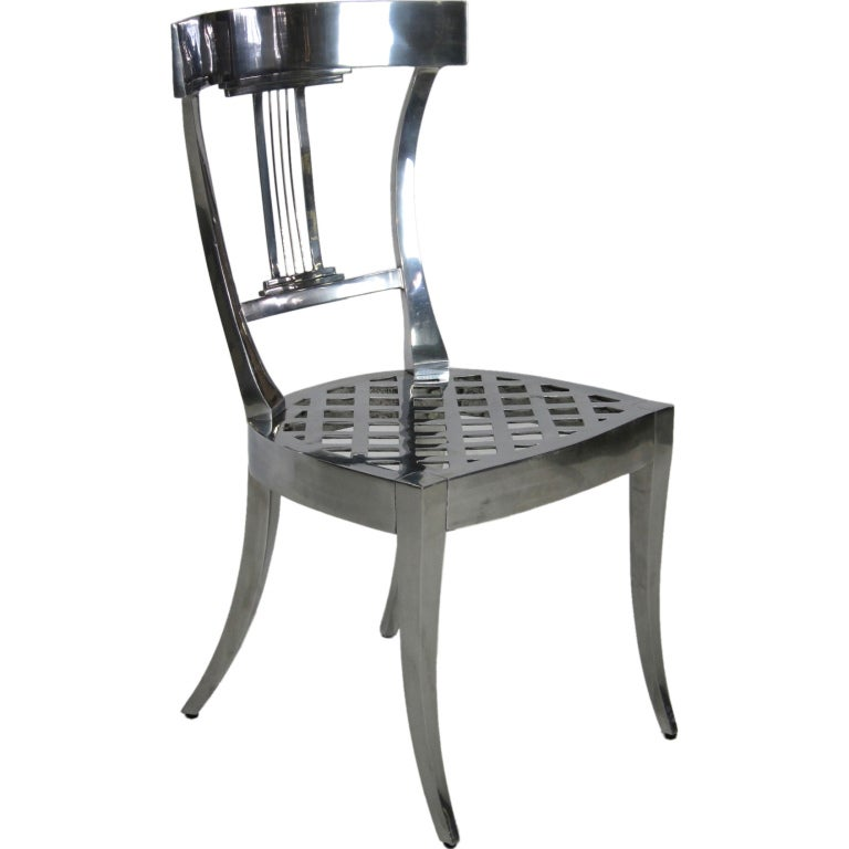 Exquisite Polished Aluminum Klismos Chair at 1stdibs