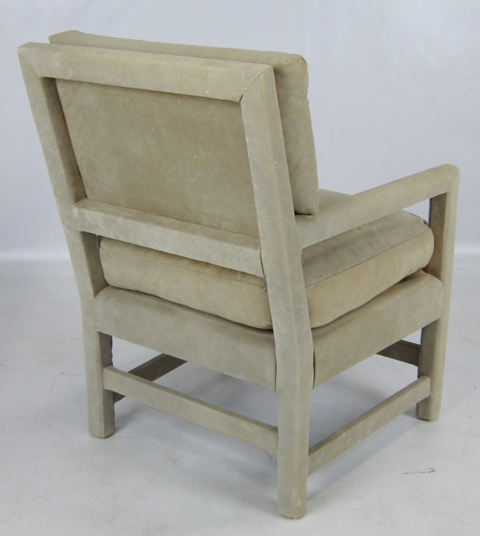 American Pair of Suede Lounge Chairs by Billy Gaylord For Sale