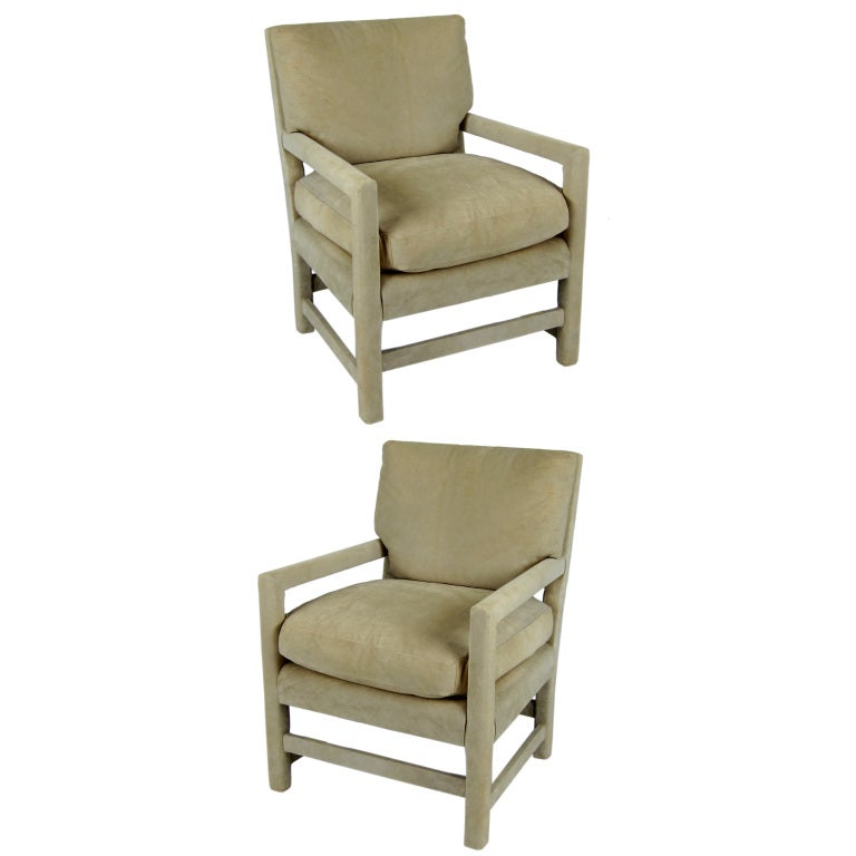 Pair of Suede Lounge Chairs by Billy Gaylord For Sale