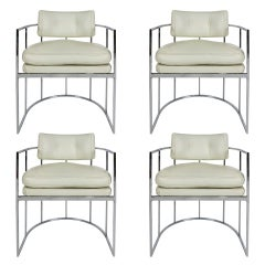 Set of Four Chrome Barrel Chairs by Milo Baughman