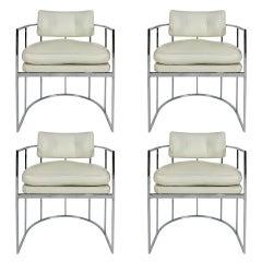 Set of Four Chrome Barrel Chairs by Milo Baughman