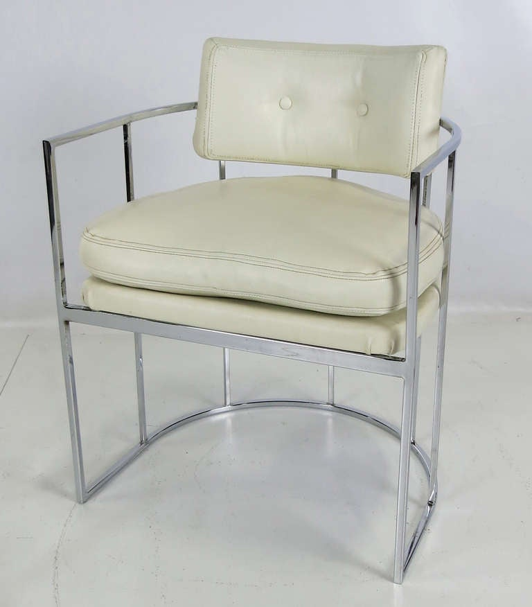 Set of four chrome barrel chairs by milo baughman at 1stdibs