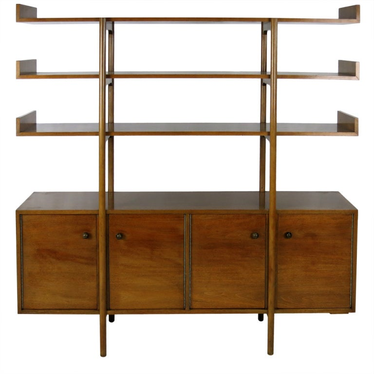 Walnut room divider by milo baughman for glenn of - Room divider with storage ...