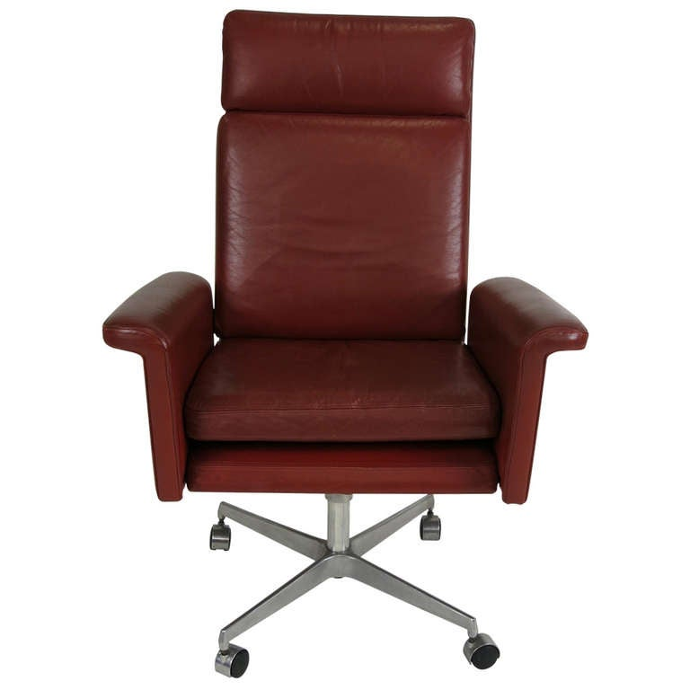 Leather Executive Chair Attributed To Arne Vodder For Sale