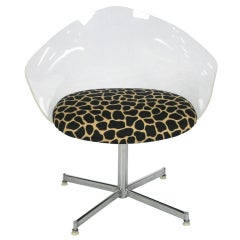 Lucite and Chrome Tulip Swivel Chair in the style of Laverne