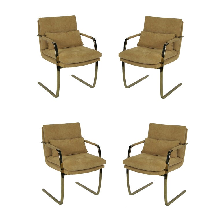 Set of Four Brass Armchairs by Pace