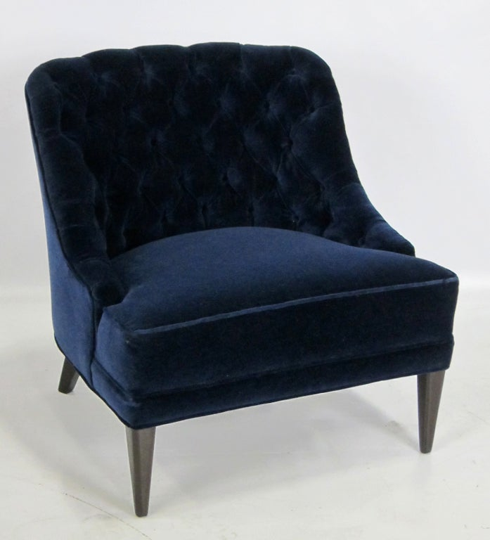 Pair Of Navy Blue Velvet Tufted Back Lounge Chairs At 1stdibs