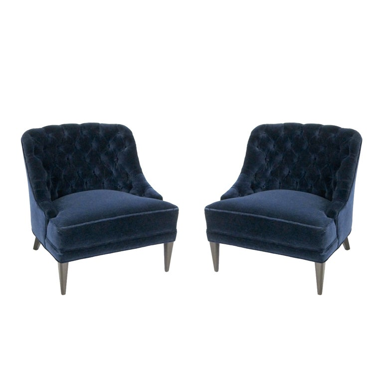 Pair Of Navy Blue Velvet Tufted Back Lounge Chairs