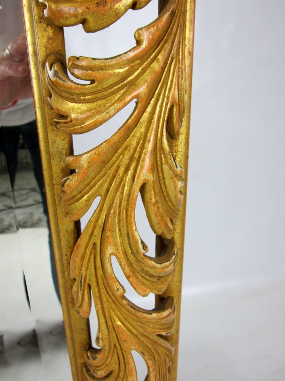 Large Pierced Foliate Gilt Wood Italian Mirror In Excellent Condition For Sale In San Leandro, CA