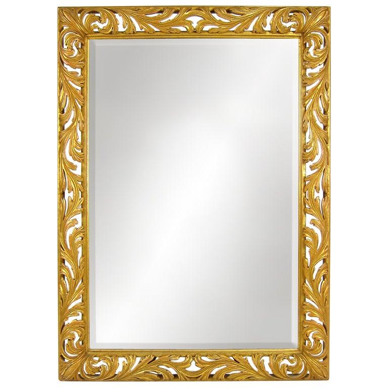 Large Pierced Foliate Gilt Wood Italian Mirror For Sale