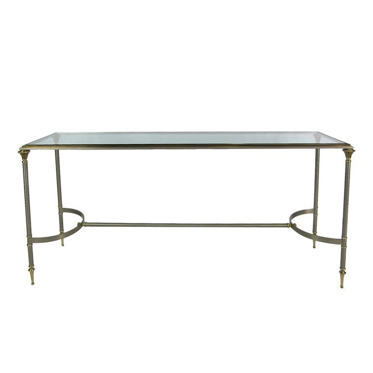 Steel & Brass Console Table in the style of Maison Jansen