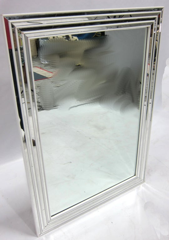 White inset mirror framed wall mirror at 1stdibs for White framed mirrors for sale