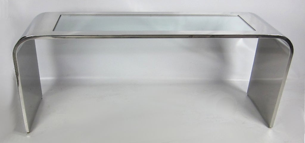 """Polished Stainless Steel """"Gatsby"""" Waterfall Edge Console by Brueton 4"""