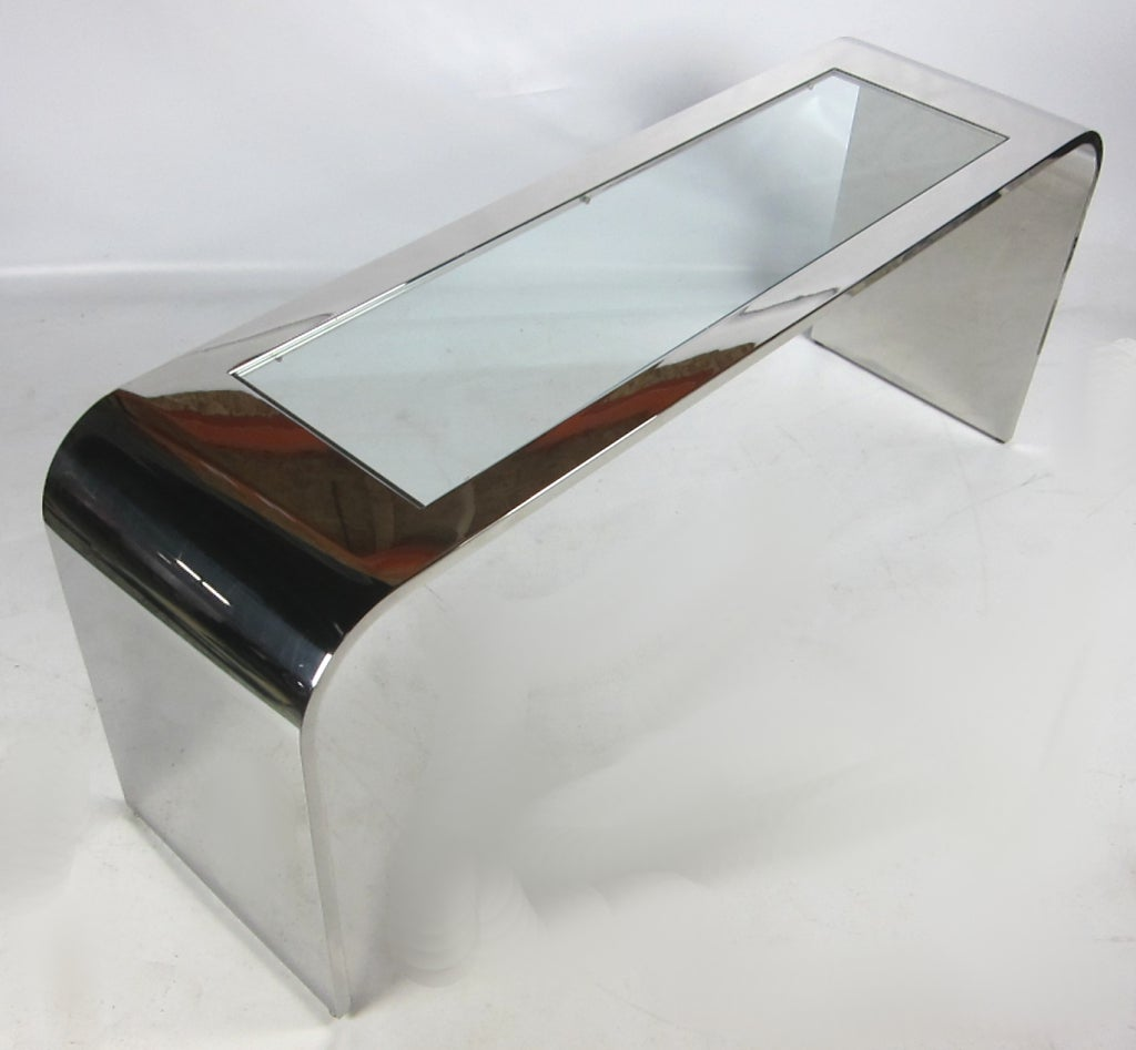 Polished Stainless Steel Waterfall Console by Brueton In Excellent Condition For Sale In San Leandro, CA