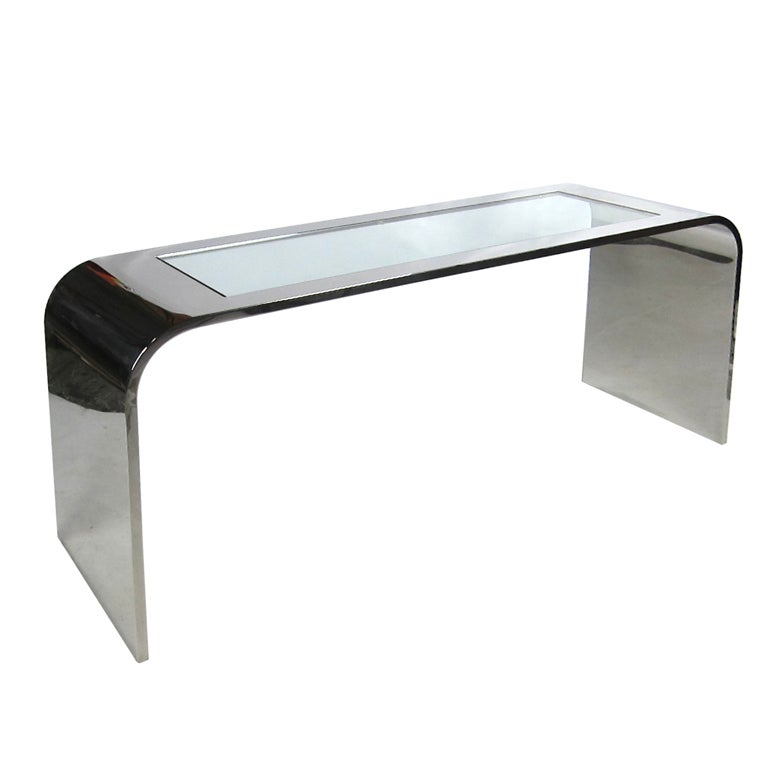Polished Stainless Steel Waterfall Console by Brueton