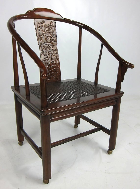 American Chinese Style Desk Chair on Casters For Sale