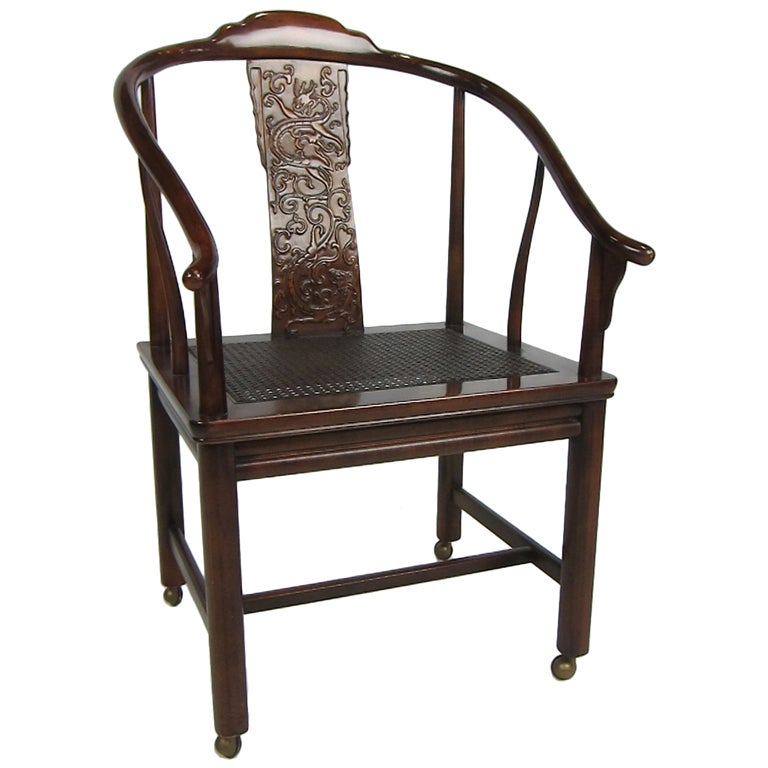 Chinese Style Desk Chair On Casters For Sale At 1stdibs
