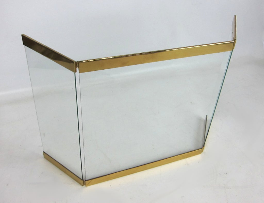 brass trimmed glass fireplace screen image 4