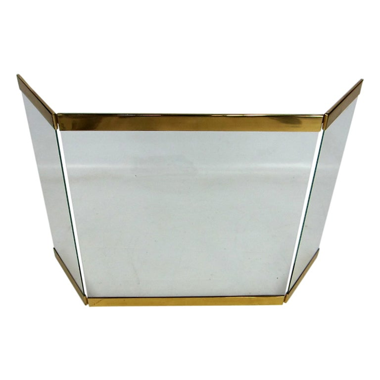 brass trimmed glass fireplace screen at 1stdibs