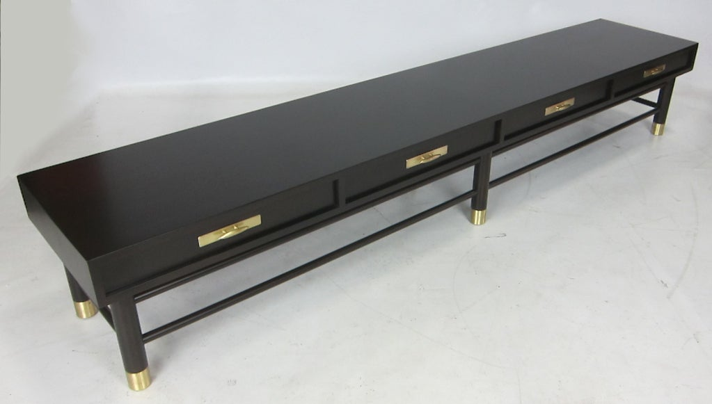 American Extra Long Modern Hall Bench/Coffee Table with Brass Trim For Sale