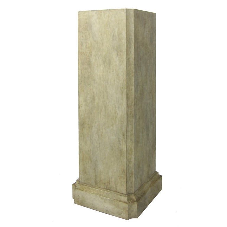 Architectural Painted Wooden Column Pedestal For Sale At