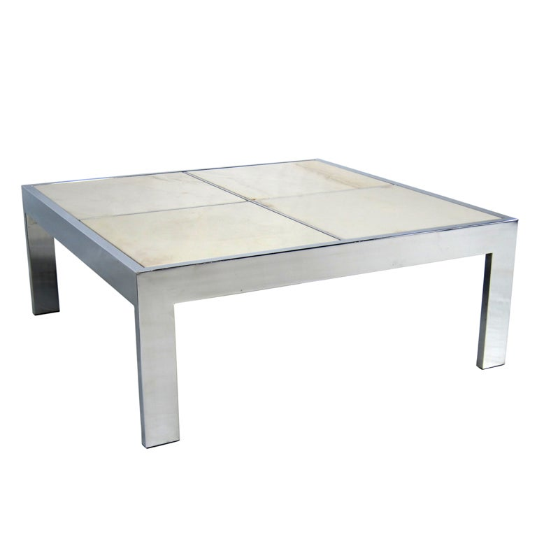 Large Scale Chrome Coffee Table With Inset Marble Top For