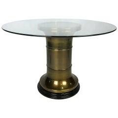 Brass Pedestal Dining Table by Mastercraft