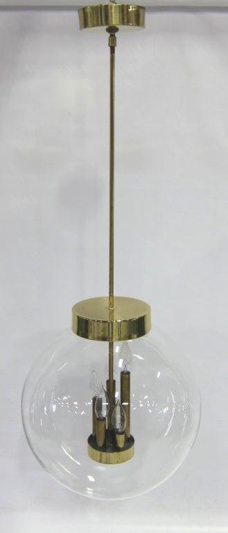 Mid-Century Modern Large Glass Globe Chandelier For Sale