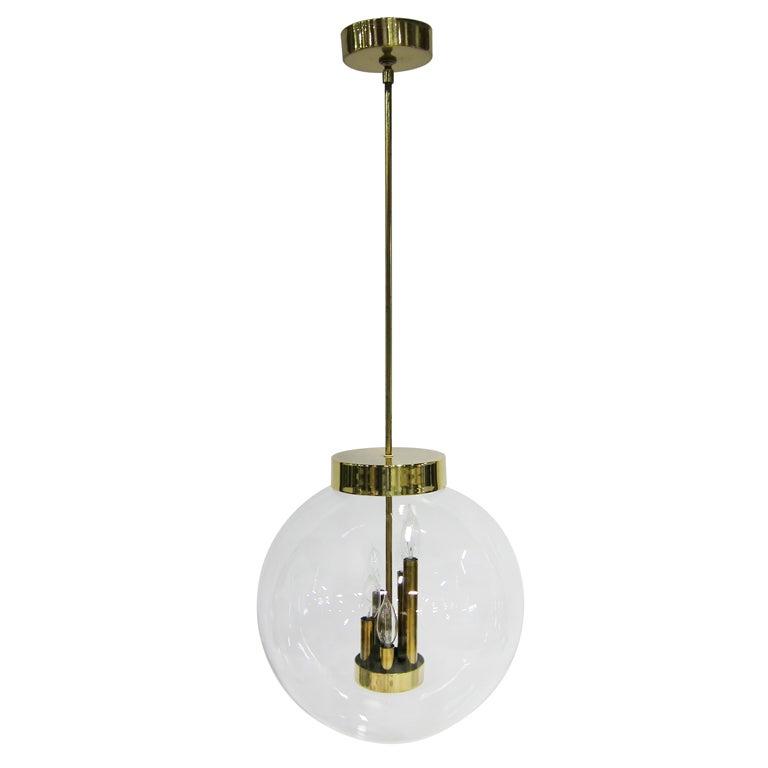 Large Glass Globe Chandelier For Sale
