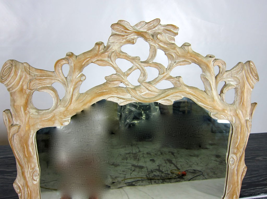 Late 20th Century Italian Carved Wood Faux Bois Mirror For Sale