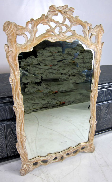 Italian Carved Wood Faux Bois Mirror For Sale 2