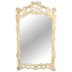 Italian Carved Wood Faux Bois Mirror