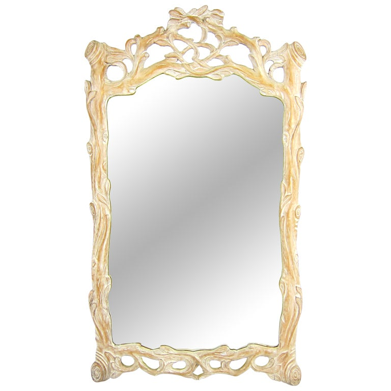 Italian Carved Wood Faux Bois Mirror For Sale