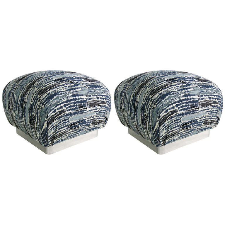 Pair of Souffle Poufs with Chrome Base