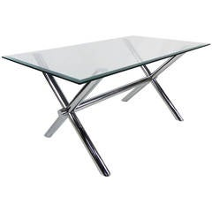 Italian Chrome X-Base Trestle Dining Table or Writing Desk