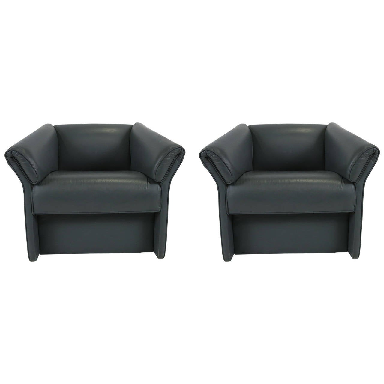 Pair of Grey Leather Modern Lounge Chairs