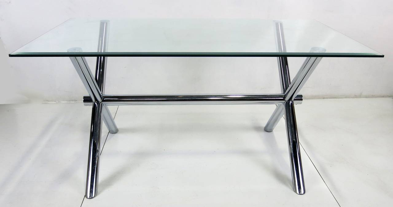 Italian Chrome X-Base Trestle Dining Table or Writing Desk In Excellent Condition For Sale In San Leandro, CA